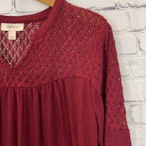 NWT Style & Co Crochet Trim Long Sleeve Top